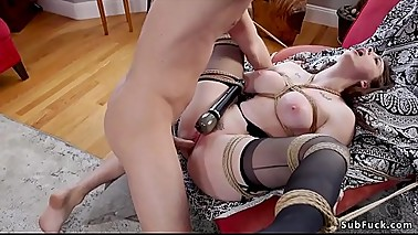 Bf in threesome bondage bangs mom and gf