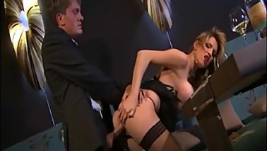 Blonde secretary gives her boss