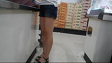 Skinny flat ass Asian milf in booty shorts
