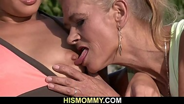 Old mom toying her young pussy