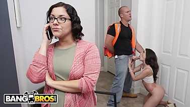 BANGBROS - Teen Gia Paige Gets Hammered By The Roofer Behind Mom's Back!